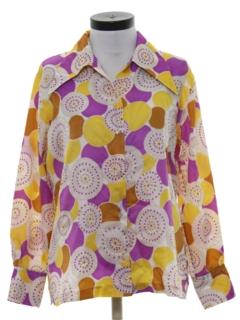 1970's Womens Hippie Style Print Disco Shirt