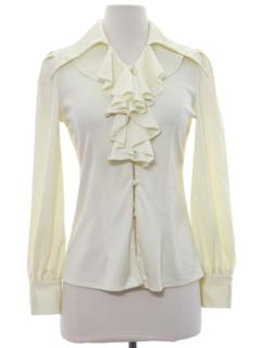 1970's Womens/Girls Ruffled Poet Style Shirt