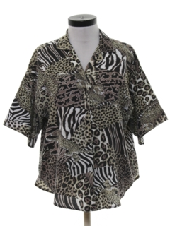 1980's Womens Totally 80s Animal Print Shirt