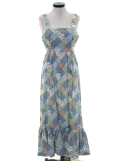 1960's Womens Hippie Halter Maxi Dress