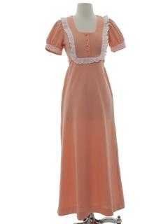 1970's Womens Mod Knit Maxi Prairie Style Dress