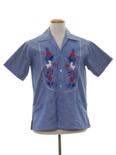 1960's Mens Guatemalan Denim Hippie Shirt