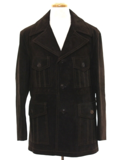 1970's Mens Suede Leather Car Coat Style Jacket