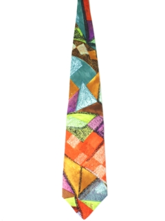 1990's Mens Wide Abstract Geometric Necktie