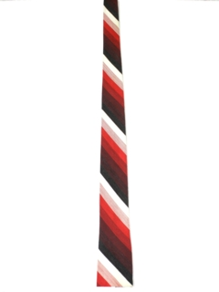 1950's Mens Diagonal Striped Square Bottom Skinny Necktie