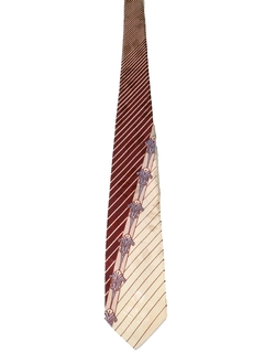 1940's Mens Wide Abstract Geometric Swing Necktie