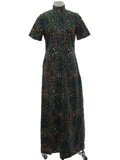 1970's Womens Maxi Hippie Cocktail Dress