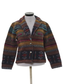 1980's Womens Totally 80s Tapestry Cloth Jacket
