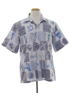 1980's Mens Totally 80s Reverse Print Hawaiian Shirt