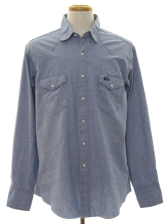 1980s Mens Western Style Chambray Shirt