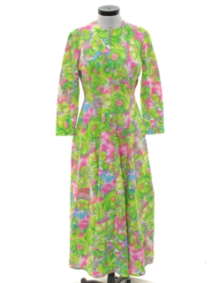 1970's Womens Mod Hippie Maxi Dress