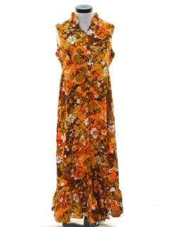 1970's Womens Mod Hawaiian Maxi Dress