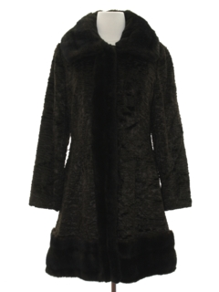 1960's Womens Mod Faux Fur Duster Coat Jacket