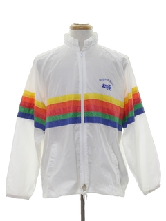 1980's Mens Totally 80s Rainbow Wind Breaker Jacket