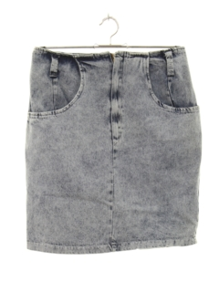 1980's Womens Totally 80s Acid Washed Denim Mini Skirt