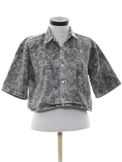 1980's Womens Totally 80s Acid Washed Cropped Denim Shirt