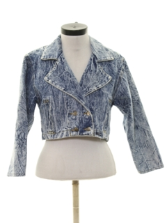 1980's Womens Totally 80s Acid Washed Cropped Denim Jacket