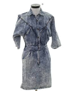 1980's Womens Totally 80s Acid Washed Mini Denim Dress