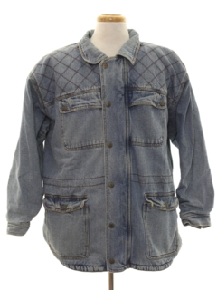 1980's Mens Denim Car Coat Jacket