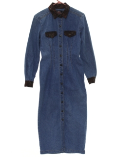 1980's Womens Denim Maxi Dress