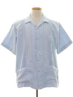 1990's Mens Guayabera Style Sport Shirt