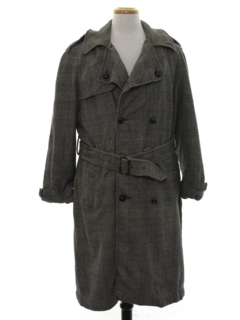 1960's Mens Wool Trench Coat Style Overcoat Jacket