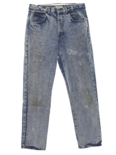 1980's Womens Totally 80s Grunge Acid Wash Denim Jeans Pants