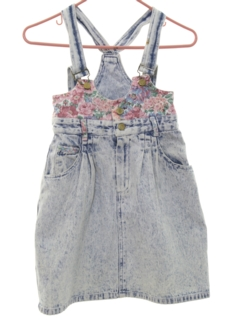 1980's Womens Acid Washed Denim Mini Skirt Romper