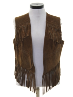 1970's Womens Suede Leather Fringed Hippie Vest