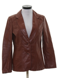 1980's Womens Leather Blazer Sport Coat Jacket