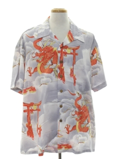 1980's Mens Asian Style Hawaiian Shirt