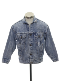 1980's Mens/Boys Totally 80s Acid Washed Denim Jacket