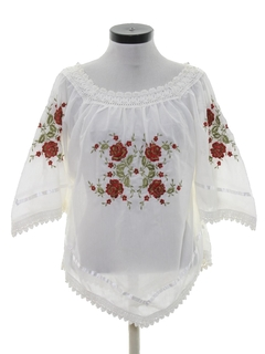 1970's Womens Embroidered Hippie Shirt