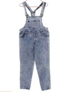1980's Womens Totally 80s Acid Washed Denim Overalls