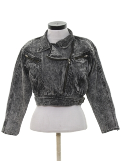 1980's Womens Totally 80s Cropped Acid Washed Denim Jacket