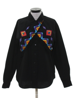 1980's Womens Geometric Print Western Shirt