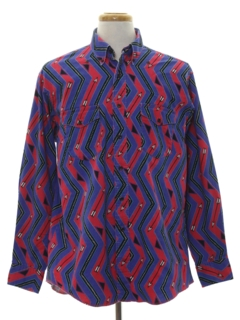 1980's Mens Totally 80s Geometric Print Western Shirt