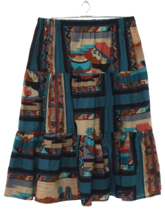 1970's Womens Totally 80s Southwestern Skirt