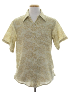 1970's Mens Mod Paisley Print Shirt