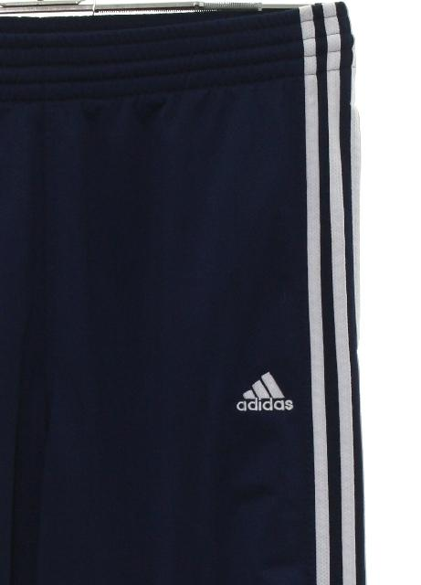 26507371b Pants: 90s -Adidas- Mens dark blue background polyester Straight leg, baggy  track pants with single snap plain cuff hem. No pockets, elastic waistline,  ...