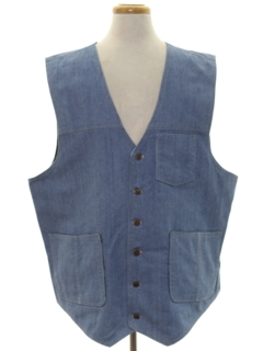 1980's Mens Denim Western Vest