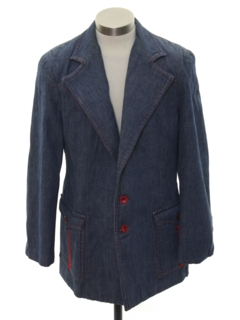 1970's Mens Mod Denim Disco Blazer Sportcoat Jacket