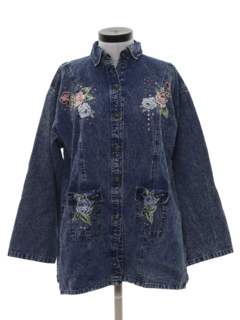 1980's Womens Denim Hippie Shirt Jacket
