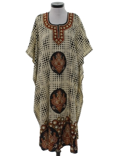 1980's Womens Hippie Caftan Dress