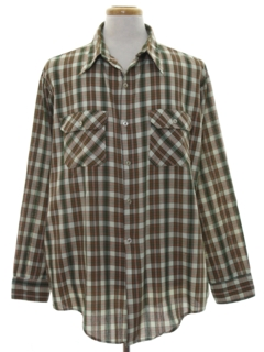 1960's Mens Plaid Print Shirt