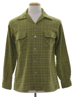1960's Mens Mod Wool Blend Board Style Sport Shirt