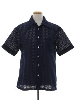 1960's Mens Mod Knit Sheer Sport Shirt