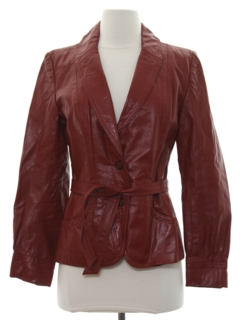 1980's Womens Mod Leather Coat Jacket