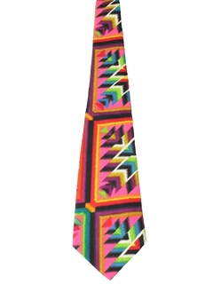 1960's Mens Mod Wide Abstract Geometric Necktie