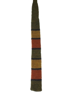 1960's Mens Wool Knit Square Bottom Necktie